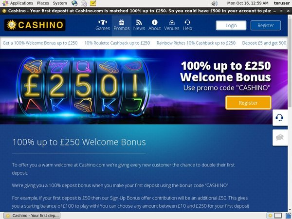 Cashino Registration