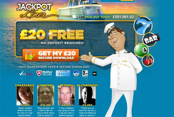 Jackpot Liner UK Freebet