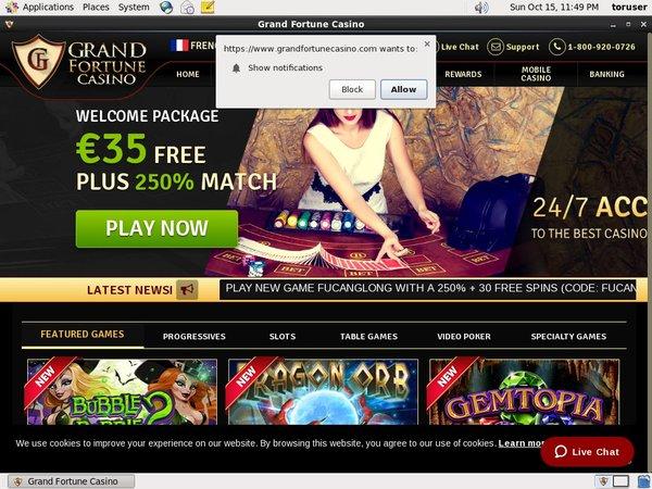 Register For Grand Fortune Casino