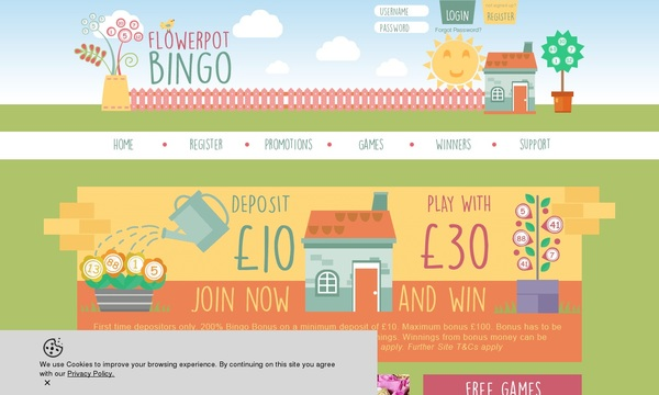 Flowerpotbingo Desktop Site Login