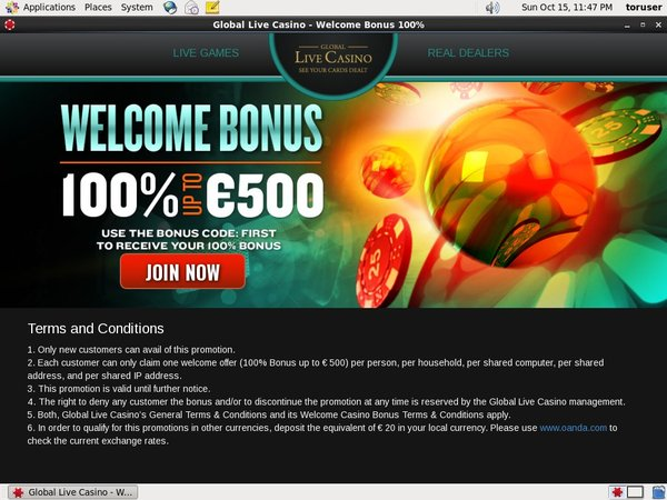 Global Live Casino Bonus No Deposit
