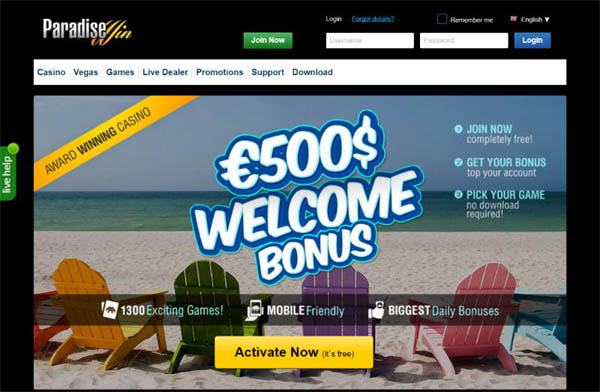 Paradise Win Offer Bonus