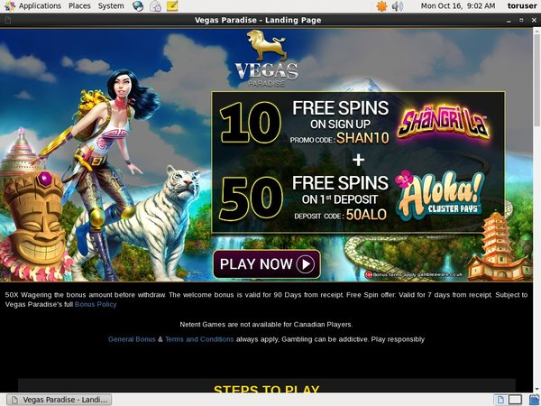 Vegas Paradise Register Bonus