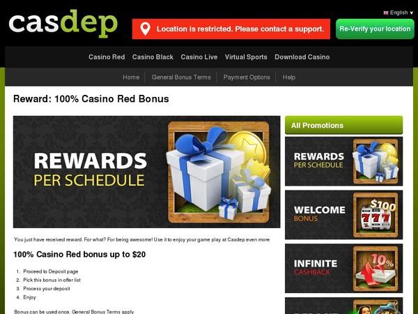 Casdep Welcome Bonus Package