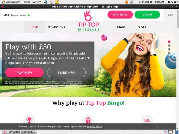 Tip Top Bingo Registration Page