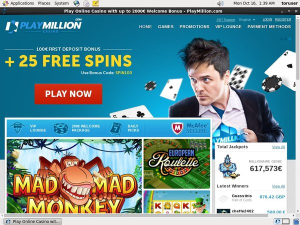 Play Million No Deposit Bonus