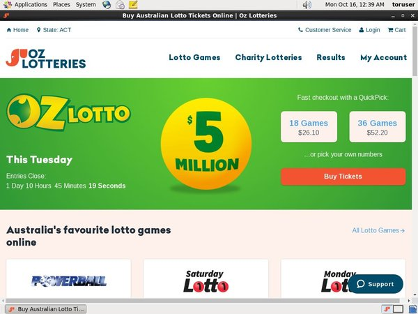 Oz Lotteries Konto