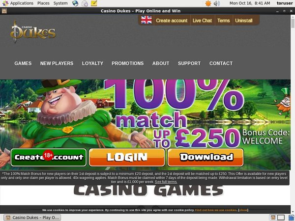 Casino Dukes Welcome Bonus Offer