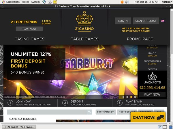 21 Free Spins No Deposit Required